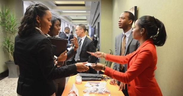Job seekers getting information at an event